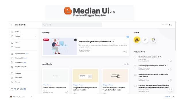 Median Ui v1.5 Premium Blogger Template Free Download [New Version]