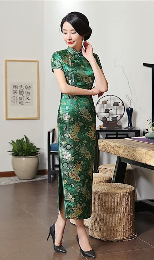 Green Cheongsam Qipao Dresses For Women