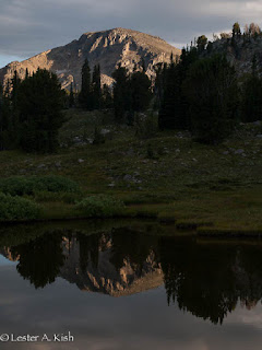 Evening reflection, Pentad Lake, Beartooth Mountains, Montana