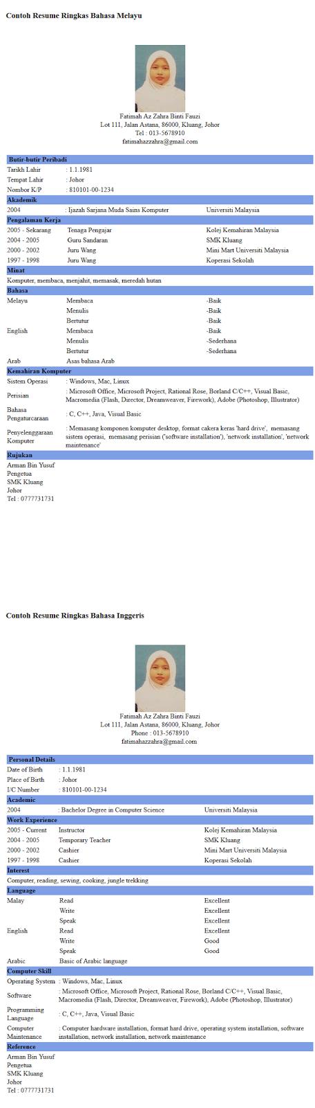 Resume Bahasa Melayu Inggeris English