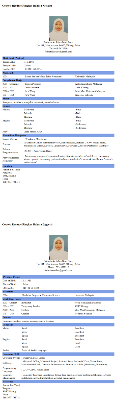 Resume Bahasa Melayu Icard Ibaldo Co