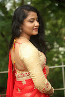 Akshara in Red Saree Golden Choli at LV Movie Makers Production No 1 Movie Opening ~  Exclusive 118.JPG