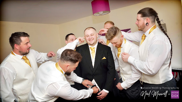 Wedding Photography by Neil at Picture Box -The Barns Hotel Wedding Photographer, Blooms Menswear