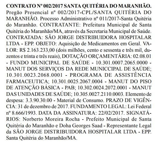 Prefeitura de Santa Quitéria vai gastar mais de 06 milhões em medicamento e material de limpeza.