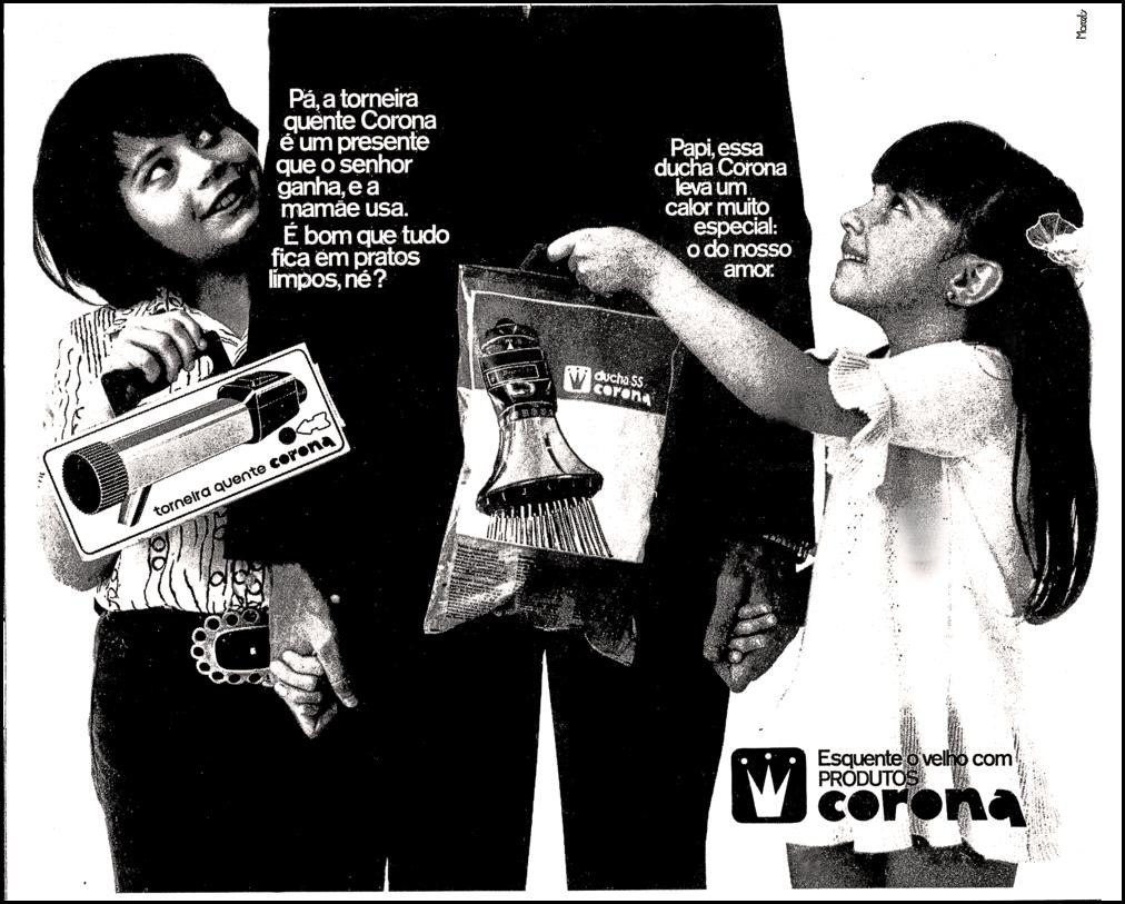 Propaganda antiga da Corona promovendo seu chuveiro e torneira elétrica em 1972