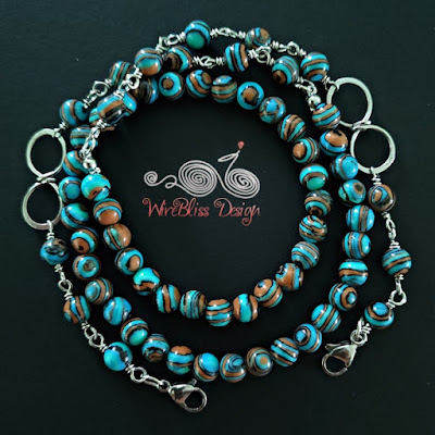 Blue Lace Malachite Face Mask Chain with Wire Infinity Knot