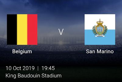 LIVE MATCH: Belgium Vs San Marino UEFA Euro 2020 Qualifiers 10/10/2019