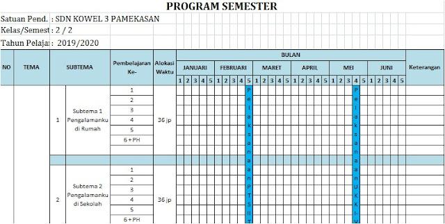 Promes Kelas 2 SD/MI Semester 2 Kurikulum 2013 Tahun 2019/2020 - Mutu Guruku
