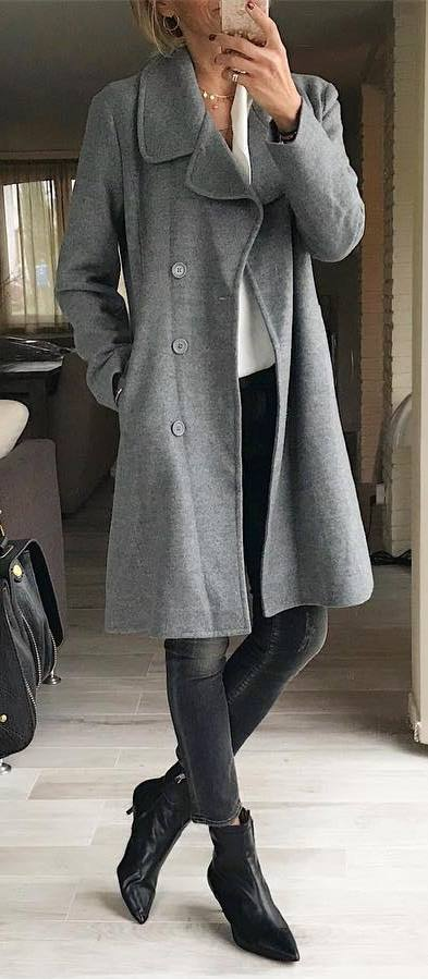 trendy winter outfit / grey coat + boots + skinnies + white blouse
