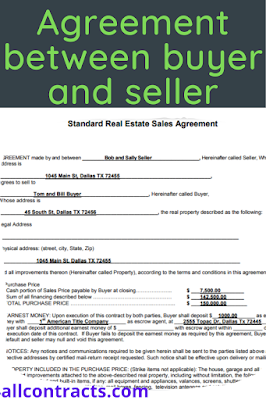 How to write an agreement between buyer and seller