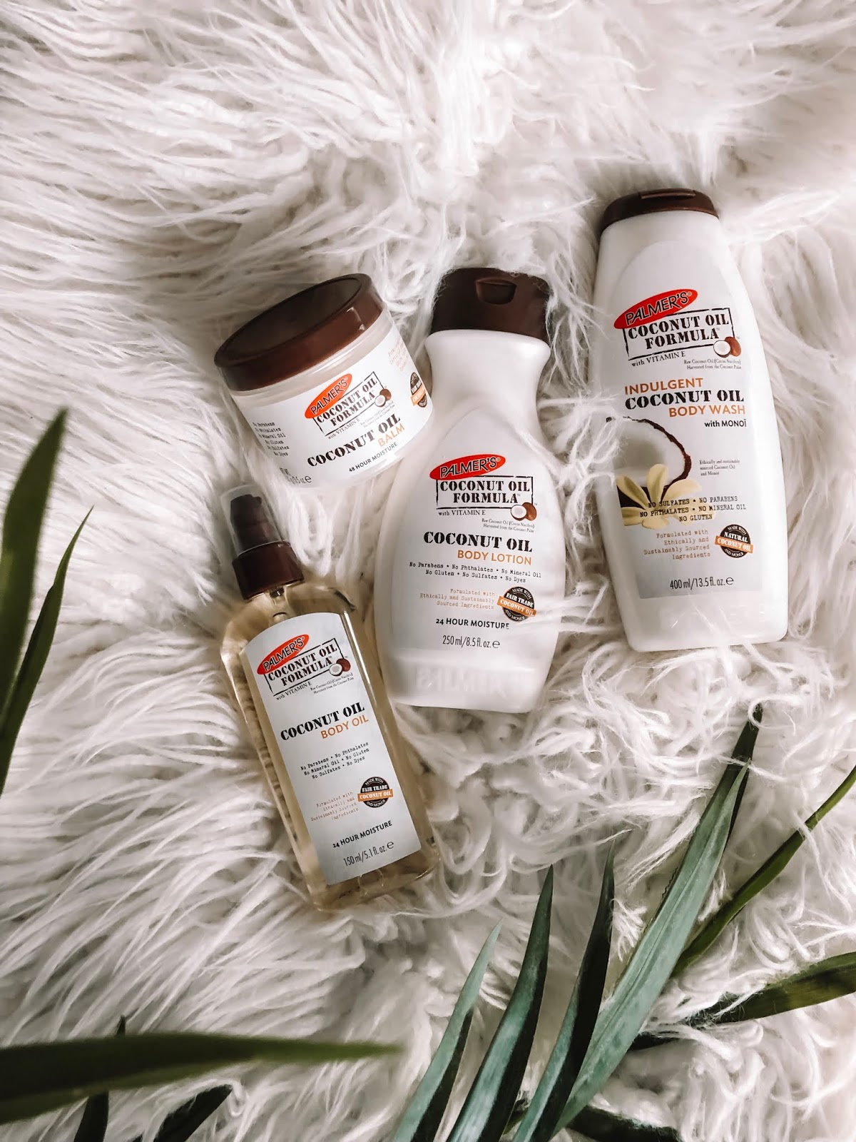 Amanda Burrows of the fashion, beauty, and travel blog Affordable by Amanda Shares Her Tips for How to Get Your Dry Skin on Track as the Seasons Change. Palmer's® Coconut Oil Formula Lotion, Palmer's® Coconut Oil Body Oil, and Palmer's® Coconut Oil Formula Body Balm