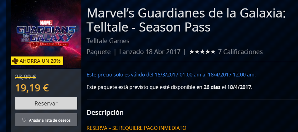 PlayStation Store desvela la fecha de lanzamiento de Marvel's Guardianes de la Galaxia: Telltale