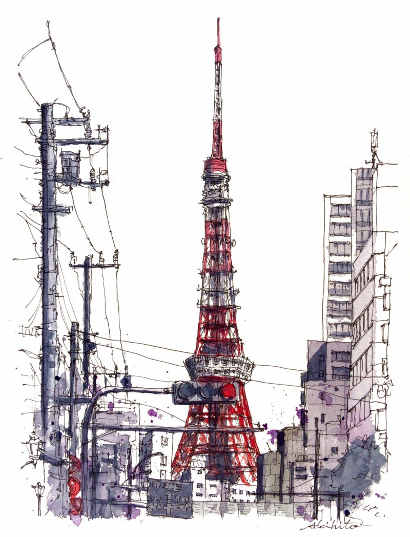 11-Tokyo-Tower-Japan-Akihito-Horigome-Travelling-Drawing-and-Painting-www-designstack-co