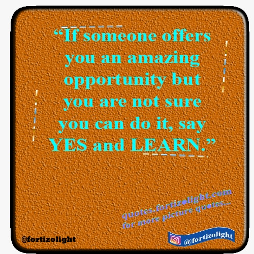 """If Someone offers you an amazing opportunity  but you are not sure you can do it,  say YES and LEARN."""