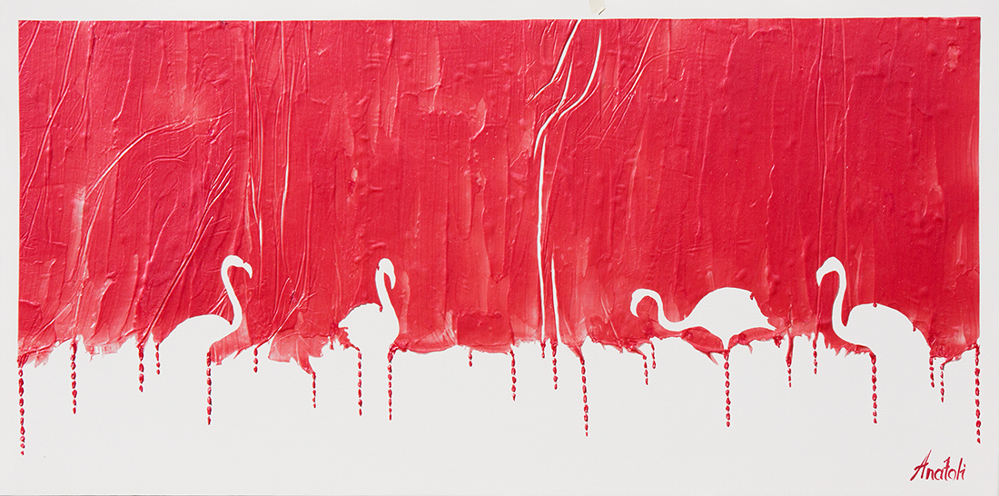 flamingo  acrylic painting, heavy textured flamingo painting, mixed flamingo art, unique jflamingo painting on canvas, anatoli flamingo, anatoli voznarski flamingo, thick laeyrs jflamingo painting, signature flamingo painting, animal painting