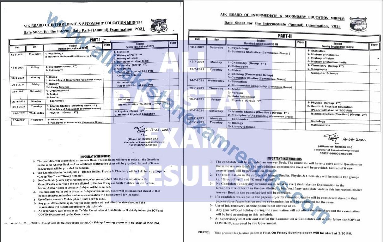 Date Sheet AJK Matric & Inter Part 2 2021 Annual Exam
