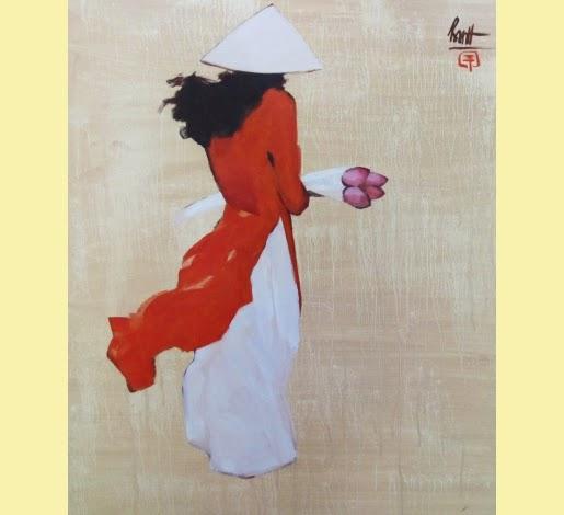 Estudante com Flores de Lotus Rosa - Thanh Binh e Suas Pinturas Elegantes - Vietnamita