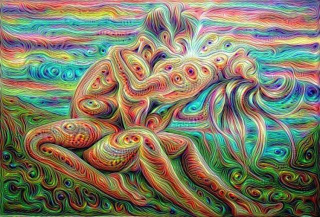 Ilustração psicodélica representando o ato sexual no contexto ritualístico da magia sexual