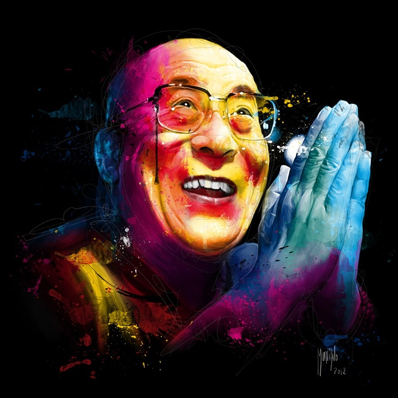 Dalai Lama | Patrice Murciano 1969 | French Figurative painter | Pop Art portrait