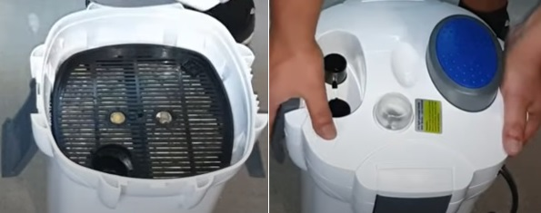 Close the lid of canister filter