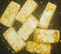 Shallow fried paneer cubes for paneer butter masala recipe