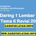 RPP Daring 1 Lembar SD/MI Kelas 4 Tema 6 Revisi 2021