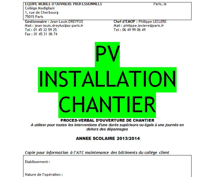 Exemple de pv d 39 installation de chantier - Proces verbal de reception de travaux ...