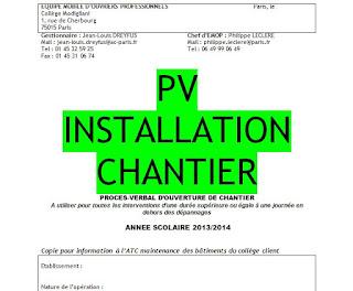 PV d'installation de chantier ou d'ouverture de chantier