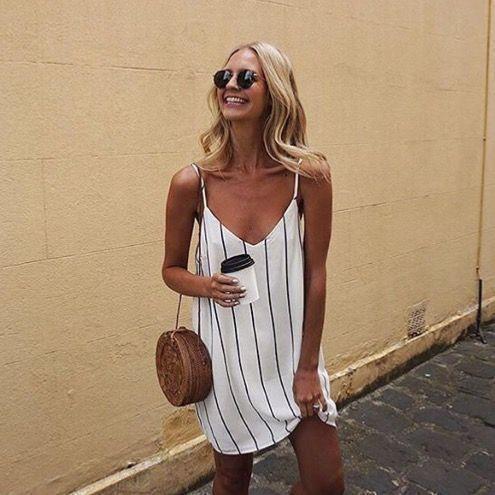 looks de verão vestido listrado branco e preto
