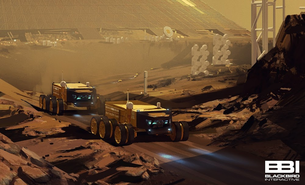 Heavy Mars trucks painting by Blackbird Interactive, NASA JPL