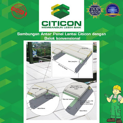 Cara pemasangan panel lantai citicon / Cor dak beton instan / beton ringan