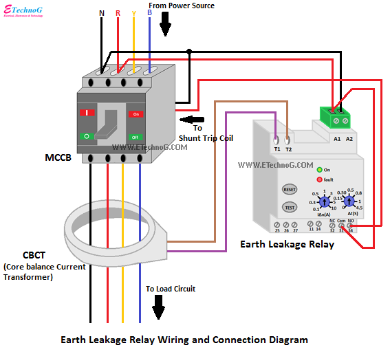 Earth Leakage Relay Wiring Diagram, Earth Leakage Relay Connection Diagram