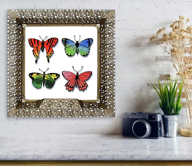 Painting of Butterflies framed in interior decor