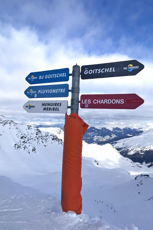Meribel skiing sign, France - travel & lifestyle blog