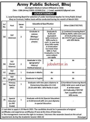 Army Public School Bhuj Recruitment Jobs 2021 , jobs , government jobs , gujarat jobs , new jobs , all jobs , jobs news , jobs 2021 , iti jobs ,