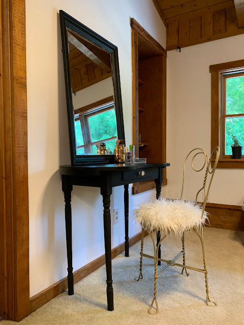 Beautiful black vanity table and chair