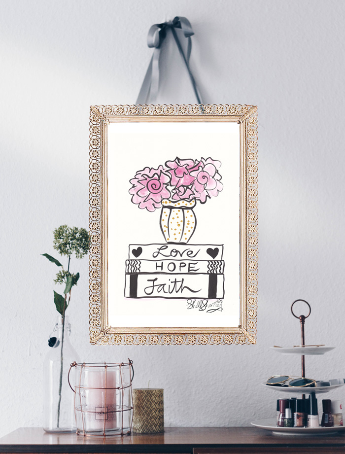 Faith, Hope, Love and Flowers art quote illustration © Shell Sherree all rights reserved