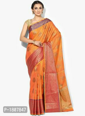 Orange Jacquard Banarasi Silk Saree with Blouse piece  Rs2799/-