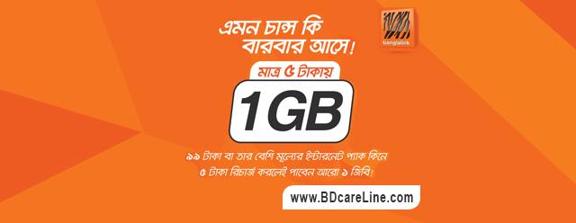 Banglalink 1GB 5Tk new internet offer 2018