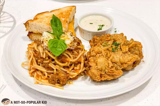 Early Bird Set Meal - buttermilk chicken, grilled cheese, spaghetti