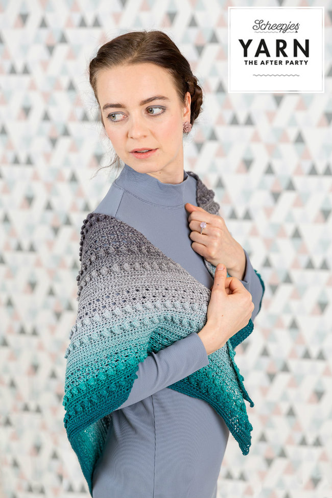 Scheepjes Whirl crochet pattern, Stormy Day shawl (Photo by Scheepjes) | Happy in Red