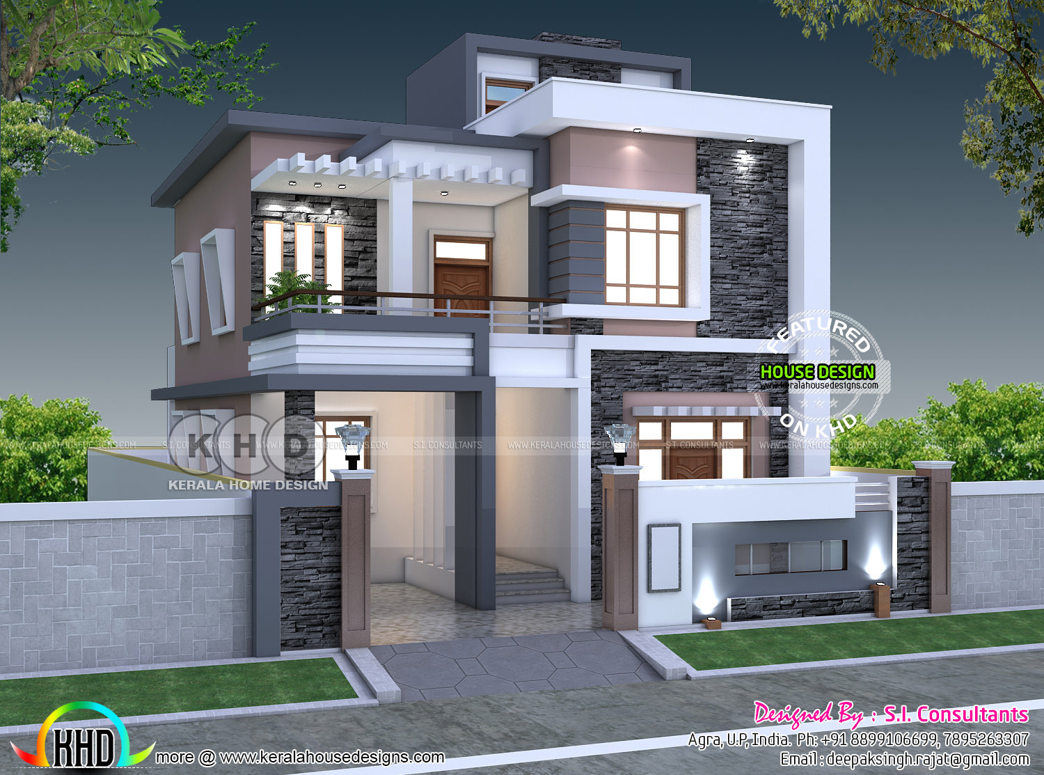 35x 55, 5 bedroom modern contemporary home - Kerala home ...