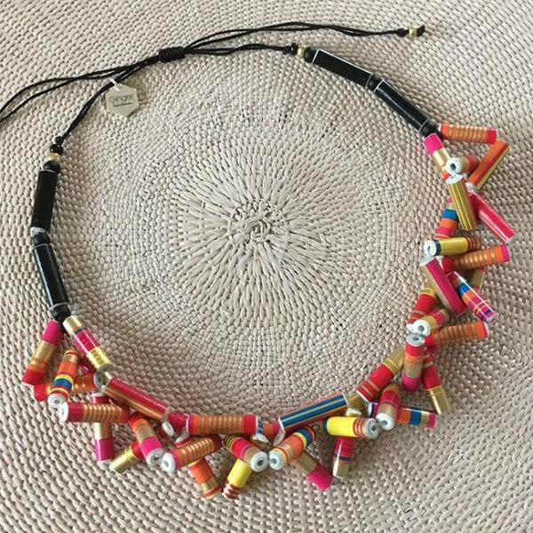 multicolor paper bead necklace