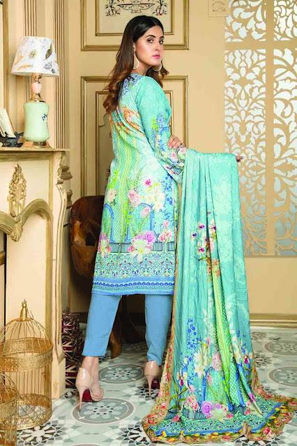 Gul Ahmed winter unstitched ferozi Colour khaddar printed suit