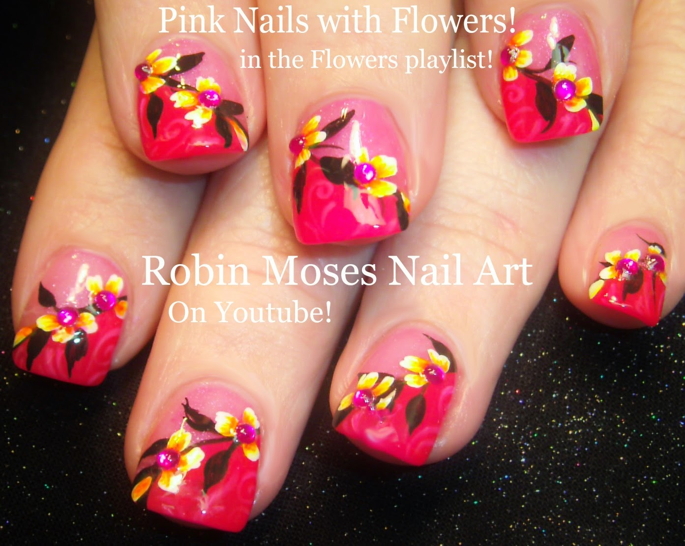 Robin Moses Nail Art: Cute Pink Nails with flowers that ...