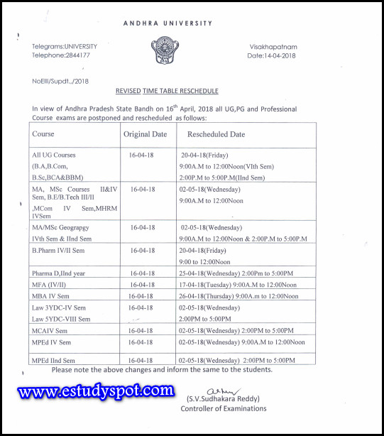 Andhra university UG,PG and Professional Course exams are postponed-Download Resheduled timetable here