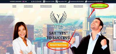 Регистрация нового пользователя в проектеYesss Capital