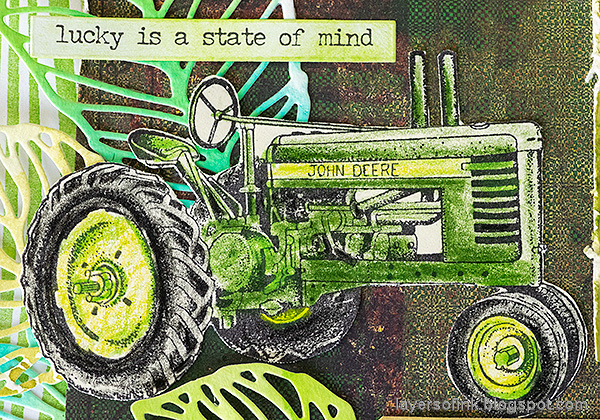 Layers of ink - Beautiful shades of green layout by Anna-Karin Evaldsson. Tractor stamp.
