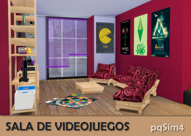 Detalle sala videojuegos sims 4 custom content rosa.