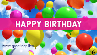 Happy Birthday greetings with Colourful Balloons